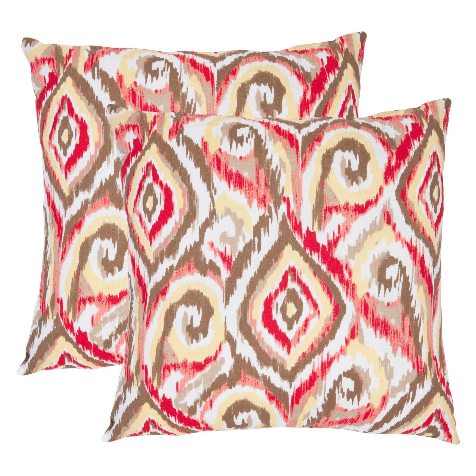 Safavieh Joyce Brown/White Decorative Pillows - Set of 2