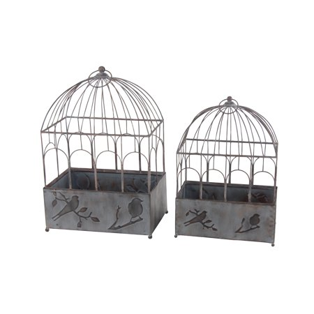 Decmode Rustic 21 And 25 Inch Distressed Gray Iron Bird Cage Planters - Set of 2 ()