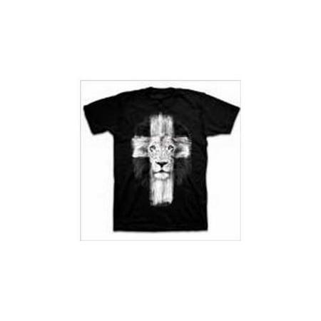 15b1a232 Christian T-shirt Lion of Judah Cross