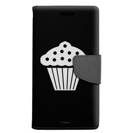 Alcatel Pop 4 Wallet Case - Silhouette Cup Cake on Black Case
