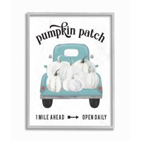 Stupell Industries Pumpkin Patch Truck Autumn Fall Seasonal Design Framed Wall Art by Lettered and Lined