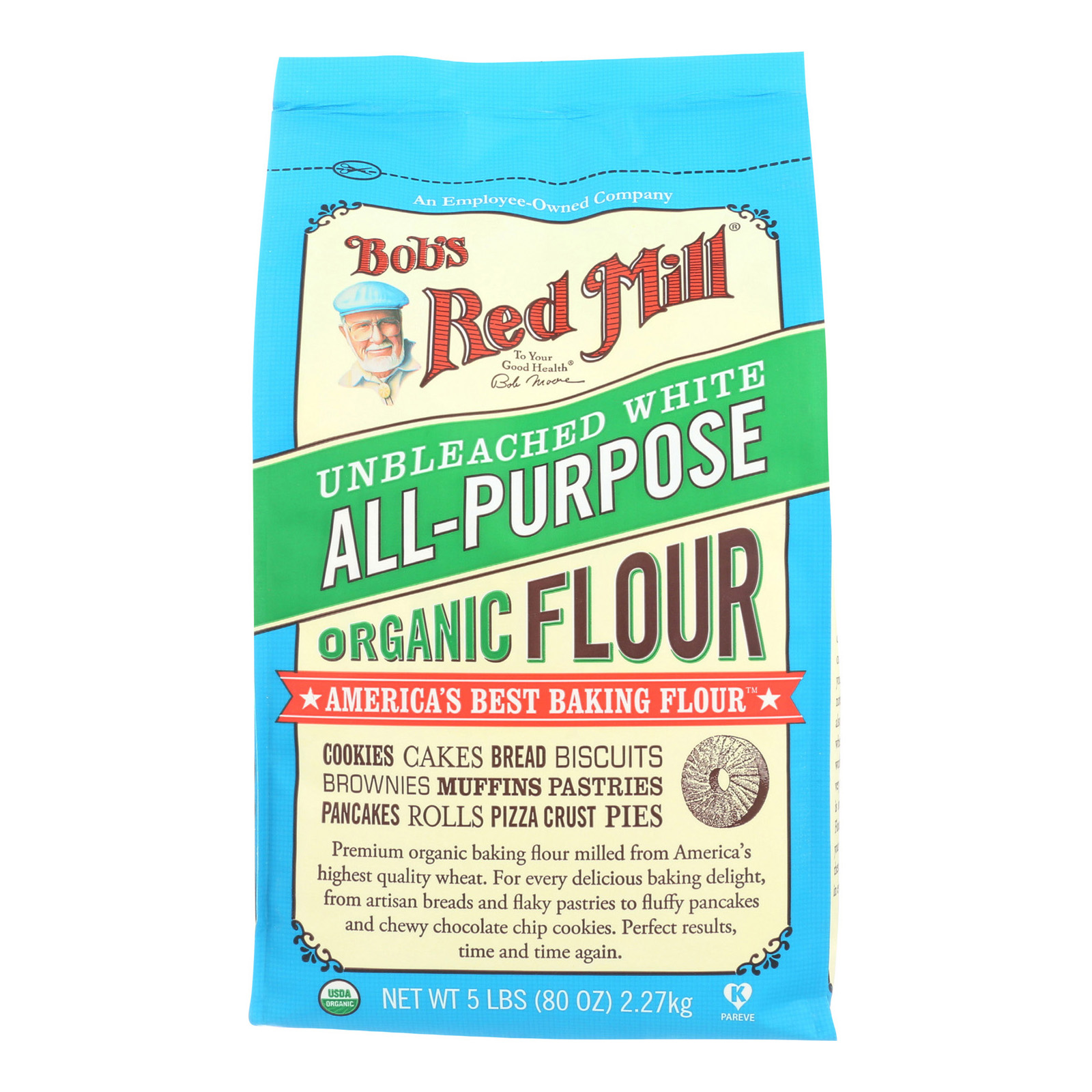 Bob's Red Mill Organic Unbleached White Flour, 5 Lb by Bob'S Red Mill
