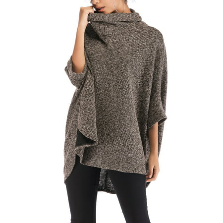 SAYFUT Womens Dress Ponchos, Knitted Turtleneck Jumper Knit Oversized Pullover Sweater Tops for Women