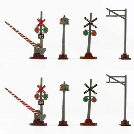 8Pcs 1:87 HO Scale Railway Scene Decoration Traffic Sign Model for Sand Table Building Scale Scenemaster Railroad
