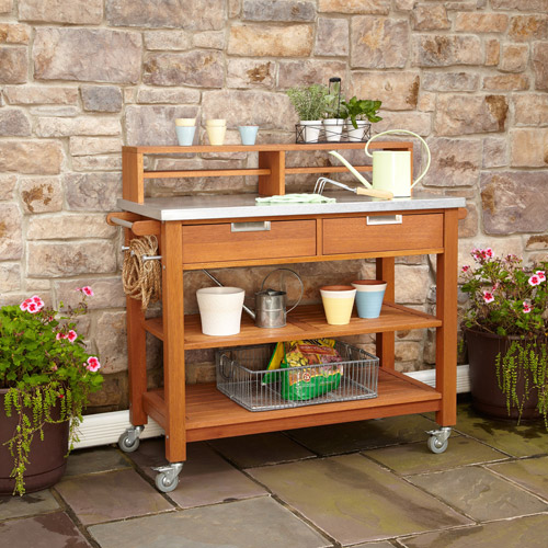 Home Styles Furniture 5660-91 Bali Hai Natural Teak Potting Bench