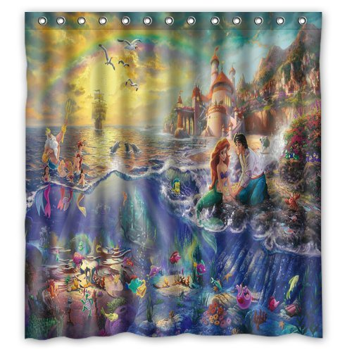 DEYOU The Little Mermaid Prince Shower Curtain Polyester Fabric Bathroom Shower Curtain Size 66x72 inches