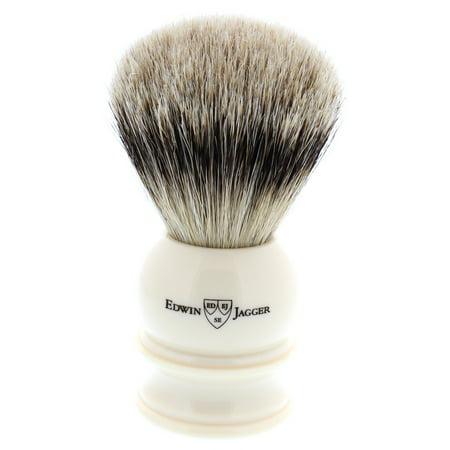 Edwin Jagger Silver Tip Badger Shaving Brush, Extra Large, Imitation Ivory