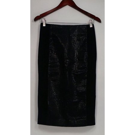 G.I.L.I. got it love it Skirt Sz 2 Printed Faux Leather Pencil Black A280971 With Love Print Skirt