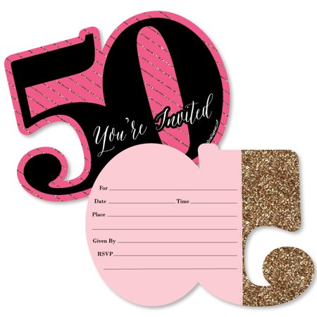 Chic 50th Birthday - Pink, Black and Gold - Shaped Fill-In Invitations - Birthday Party Invitations - Set of 12 (50th Birthday Invitations)