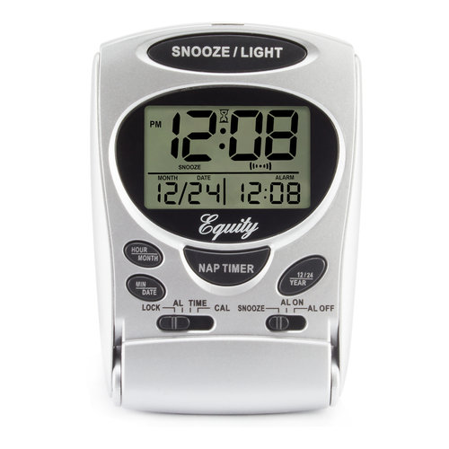 "La Crosse Equity 31300 Fold-Up Digital 2.70"" LCD Travel Alarm with Nap Timer and Backlight"