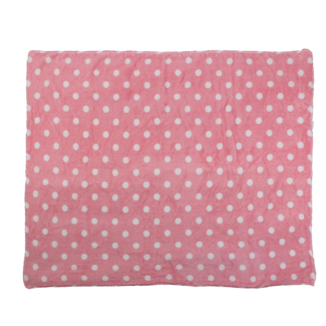 Pet Flannel Dot Pattern Cat Bed Cushion Soft Sleeping Mat Dog Blanket Pink White