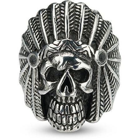Men's Stainless Steel Black Oxidized Indian Chief Skull Head - Plastic Skull Rings