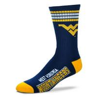West Virginia Mountaineers For Bare Feet 4-Stripe Deuce Team Color Performance Crew Socks