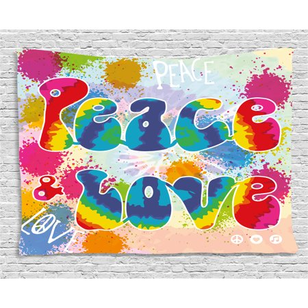 70s Party Decorations Tapestry, Peace and Love Tie Dye Funky Color Splashes Rainbow Abstract Artistic, Wall Hanging for Bedroom Living Room Dorm Decor, 60W X 40L Inches, Multicolor, by - 70s Party Decor