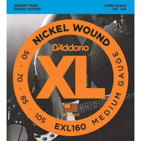 D'Addario EXL160 Nickel Wound Bass Guitar Strings, Medium, 50-105, Long Scale (Nickel Wound Long Scale)