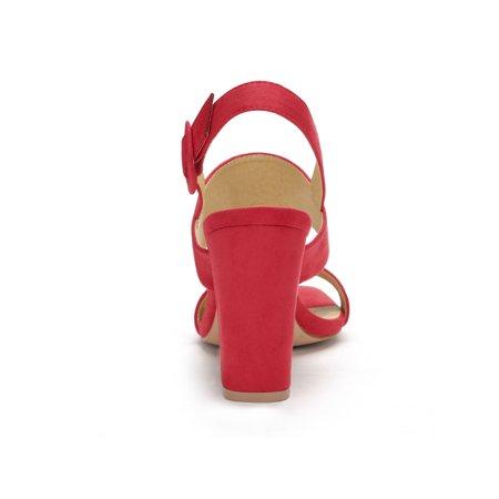 30204e3ee00 Unique Bargain Women s Open Toe High Block Heel Slingback Sandals Red (Size  6) ...