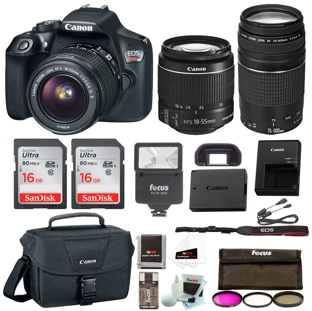 Canon Rebel T6 DSLR Camera w/18-55mm & 75-300mm Lenses Premium Bundle, Flash, 2x 16GB SD Cards, Camera Bag