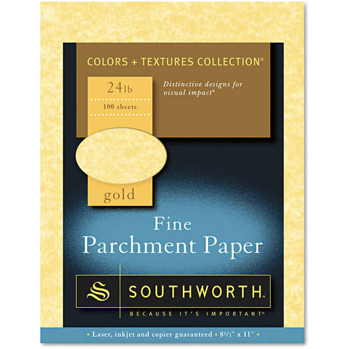 Southworth Parchment Specialty Paper, Gold, 8-1/2 x 11, 100/Box