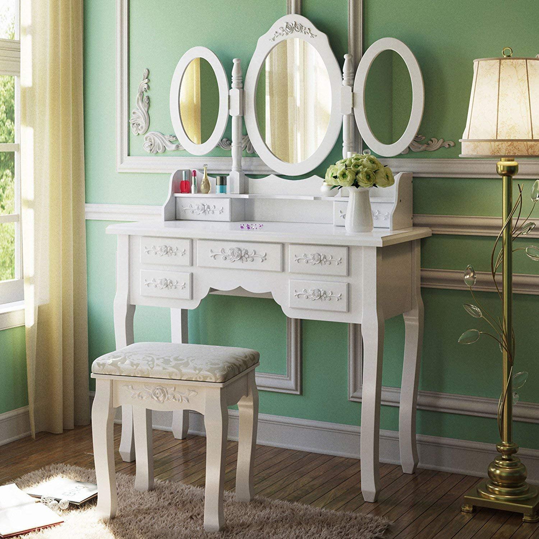 White Dressing Table,3 Mirror /& Stool Set Bedroom vanity Makeup Desk 7 Drawer