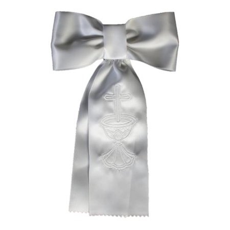 Boys White Embroidered Cross Chalice First Communion Arm Band