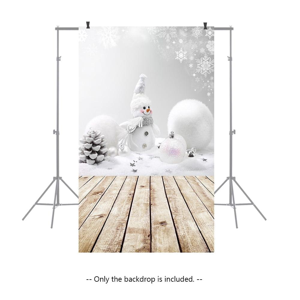 Andoer 1.5 * 0.9m/4.9 * 3.0ft Christmas Backdrop Photography Background Snow Wood Floor Picture for DSLR Camera Children Newborn Wedding Photo Studio Video