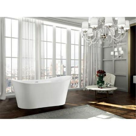 67 in. Freestanding Soaking Bathtub, Glossy White
