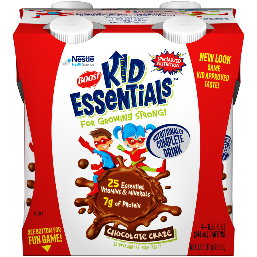 (2 pack) Boost Kids Essentials Nutritionally Complete Drink, Chocolate Craze, 8.25 fl oz, 4 Count