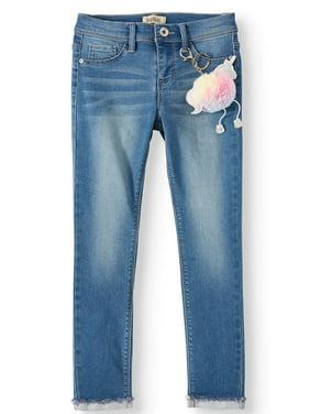 Squeeze Skinny Jean with Furry Unicorn Keychain (Little Girls & Big Girls)