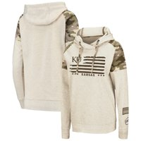 Kansas Jayhawks Colosseum Women's OHT Military Appreciation Desert Camo Raglan Pullover Hoodie - Oatmeal
