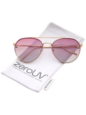 b87ccec32 Product Image zeroUV - Modern Temple Brow Bar Rimless Gradient Colored Flat  Lens Aviator Sunglasses 59mm - 59mm