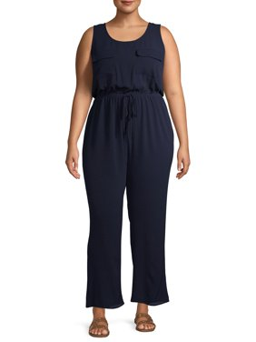 Monteau Women's Plus Size Sleeveless Wide Leg Jumpsuit with Drawstring Waist