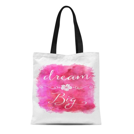 - ASHLEIGH Canvas Tote Bag Yellow Peach Pink Dream Big Inspirational Red Rose Reusable Handbag Shoulder Grocery Shopping Bags