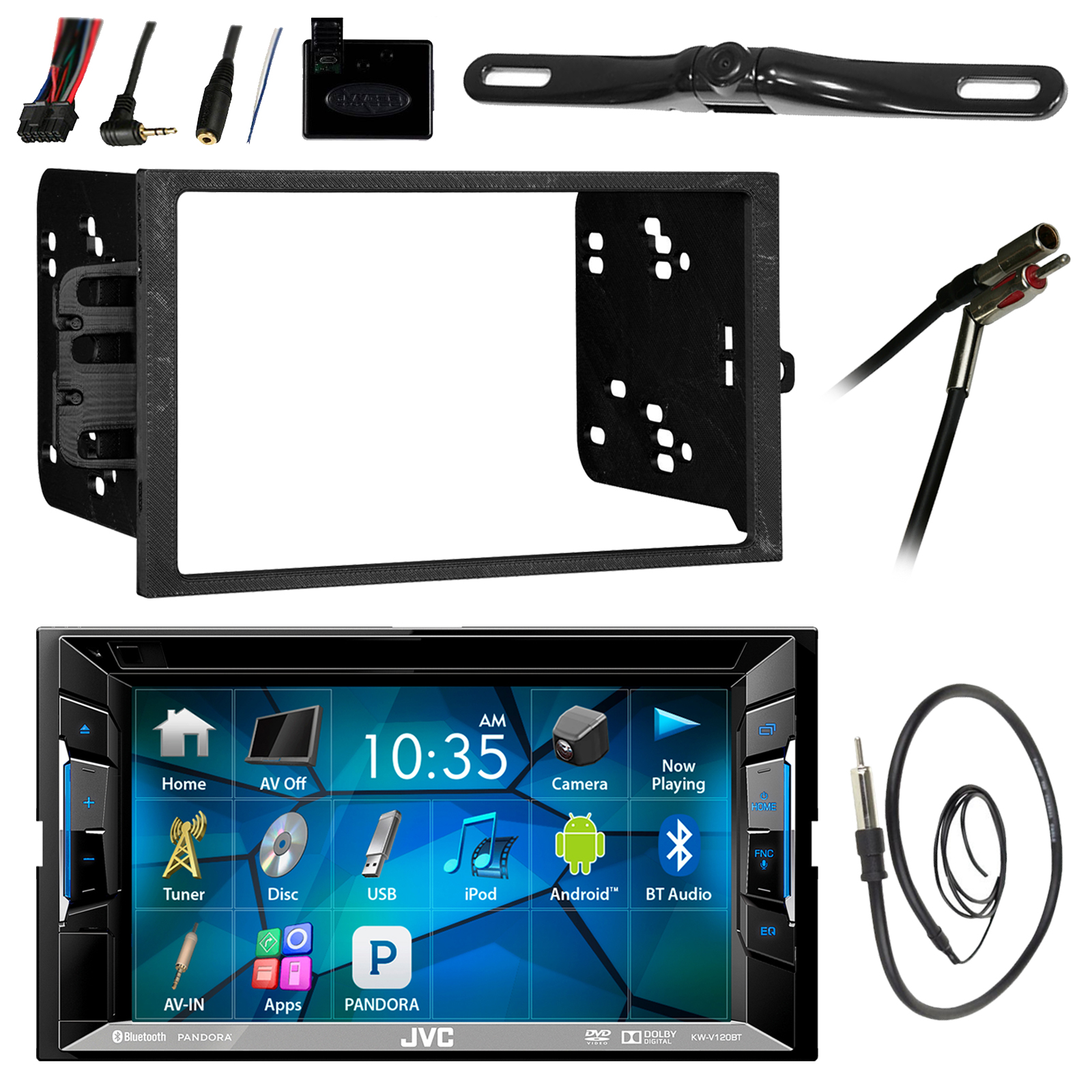 """jvc kwv140bt 6.2"""" lcd bluetooth cd dvd car stereo receiver bundle combo w/ backup camera + steering wheel controller + dash install kit for most gm vehicles + enrock 22"""" radio antenna with adapter"""