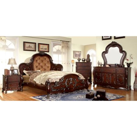 Furniture of America Tashir Traditional Style 4-Piece Cherry Bedroom Set Cal. King