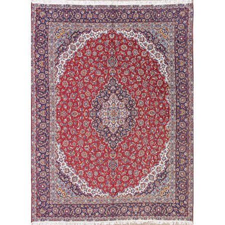 Traditional Floral 9x12 Wool Acrylic Machine Made Oriental Area Rug 12'6