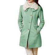 Allegra K Women's Long Sleeves Slant Pockets Single Breasted Peacoat Green (Size M / 8)