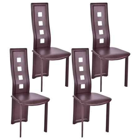 - GHP 4-Pcs 330-Lbs Capacity Brown PVC Padded Seat High Back Armless Dining Chairs