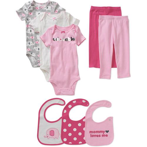 Child of Mine Carters Newborn Girls' 8pc Creeper, Pant and Bib Set