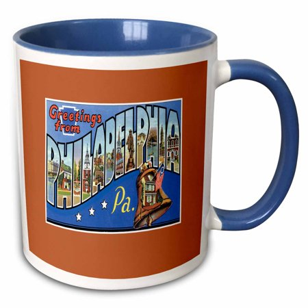 Bell Shape Mug (3dRose Greetings From Philadelphia Pennsylvania with Liberty Bell - Two Tone Blue Mug, 11-ounce)