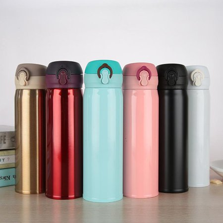 500ml Thermos Stainless Steel Double Wall Thermal Cup Travel Mug Home Tea Coffee Drink Bottle Cup White Double Egg Cup