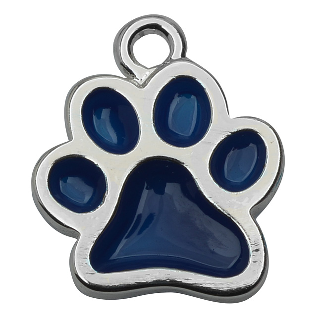 Silver Plated Transparent Blue Enamel Paw Print Charm 16mm (1)
