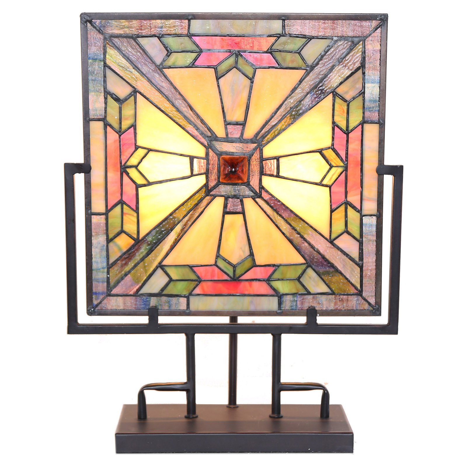 River of Goods 16360 Stained Glass Square Panel Table Lamp - Walmart.com
