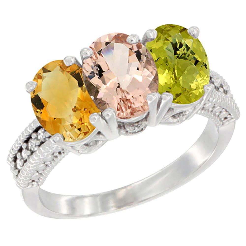 10K White Gold Natural Citrine, Morganite & Lemon Quartz Ring 3-Stone Oval 7x5 mm Diamond Accent, sizes 5 10 by WorldJewels
