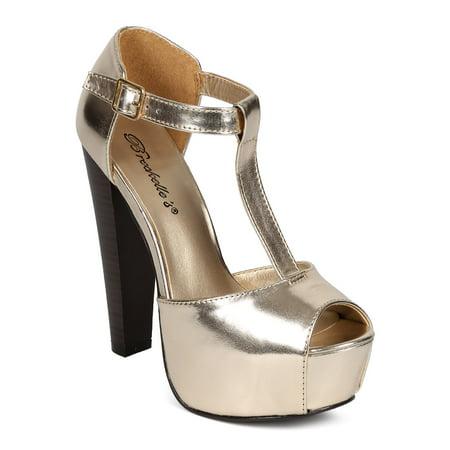b2572a74668 Breckelles - Breckelles DK83 Women Metallic Peep Toe T-Strap Platform  Chunky Heel Pump - Walmart.com