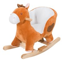 Plush Kids Sturdy Ride On Rocking Horse with Song