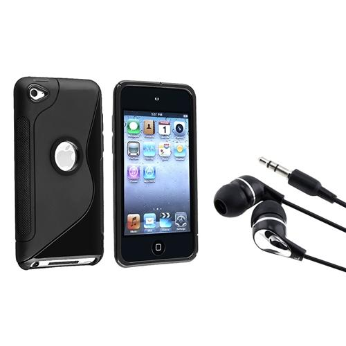 Insten TPU Black S Shape Gel Case Skin+Headset Black/Silver For Apple iPod touch 4 G 4th Gen