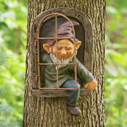 Garden Gnome Statue Ornaments for Outdoor Enthusiasts - 15cm Elf Out the Door Tree Hugger, Gnome Figurines, Tree Sculpture Indoor Decoration and Gift