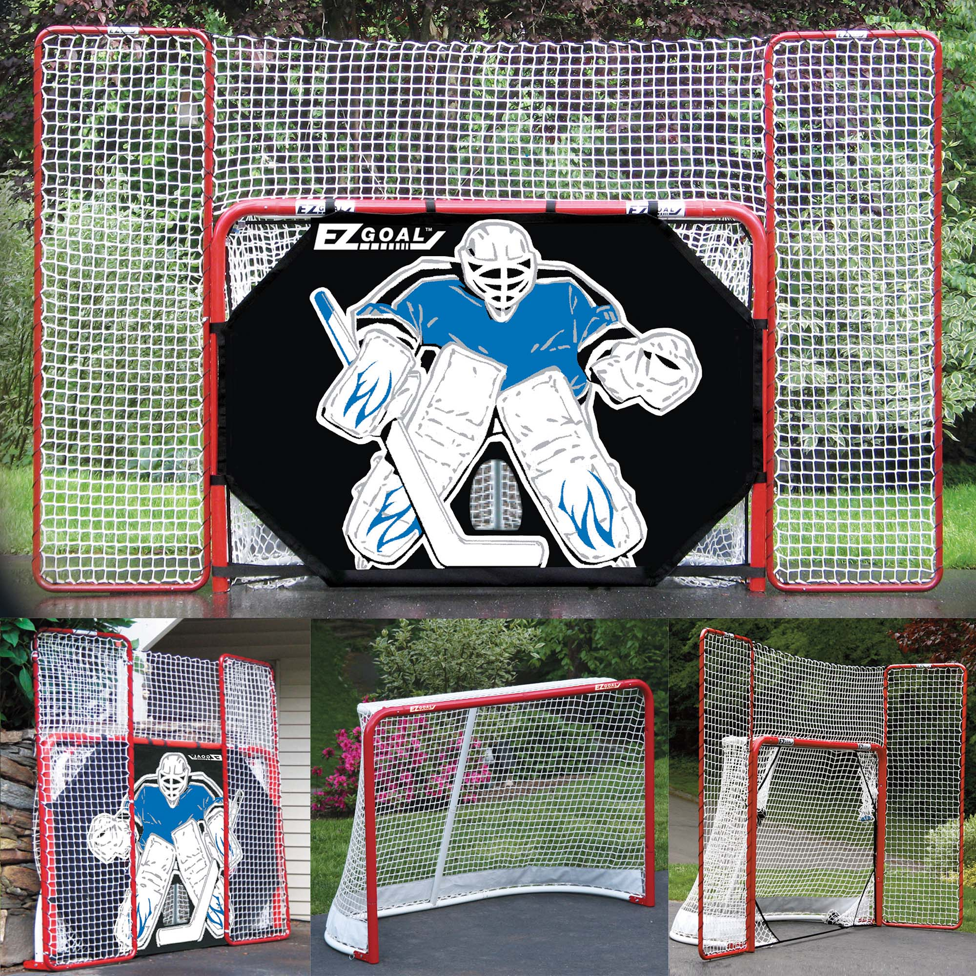 """EZgoal Monster 6' x 4'2"""" Official Regulation Folding Metal Hockey Goal Net, 10' x 6' Backstop Shooter... by New England Oudoor Products"""