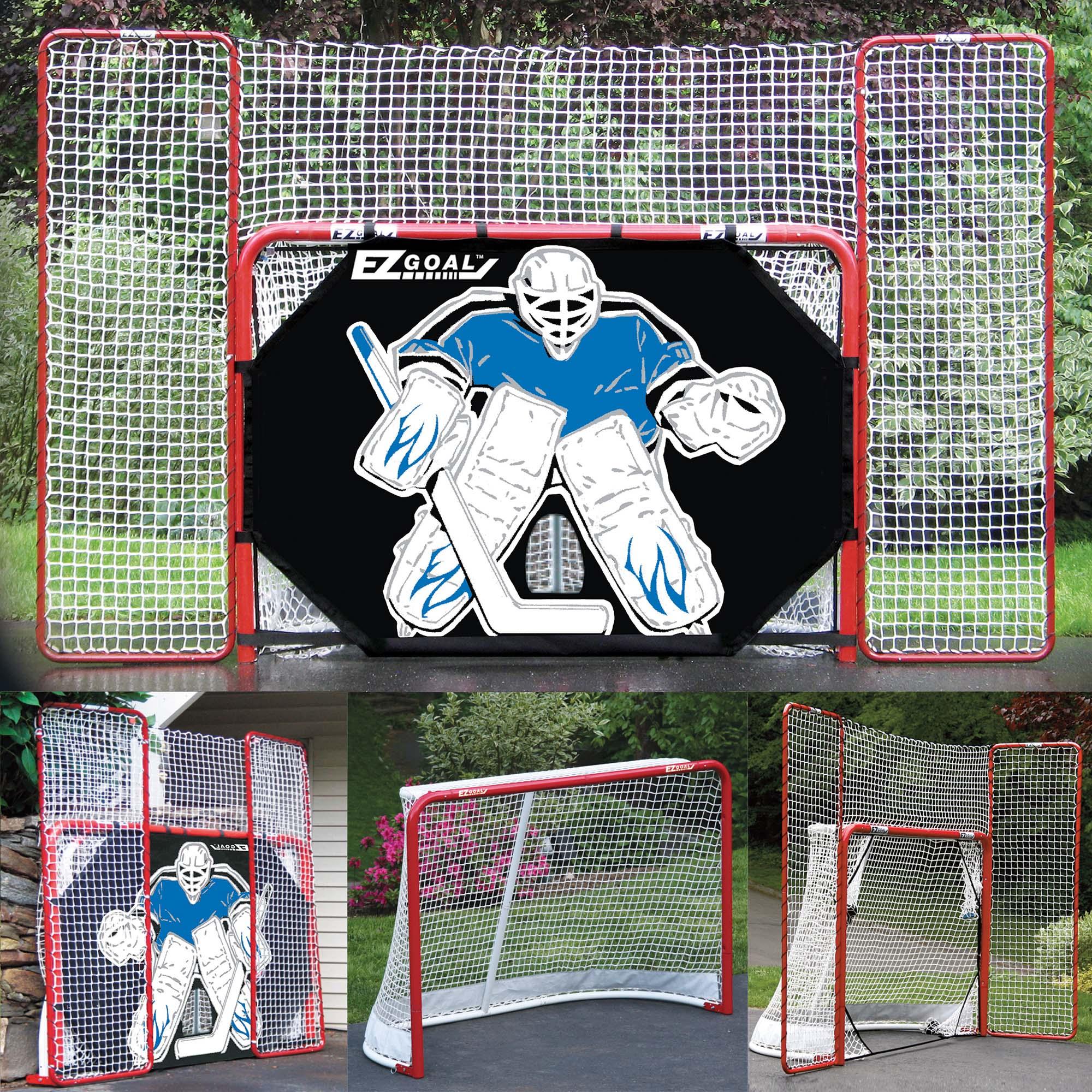 "EZgoal Monster 6' x 4'2"" Official Regulation Folding Metal Hockey Goal Net, 10' x 6' Backstop Shooter Tutor, 5 Net Pocket Targets"