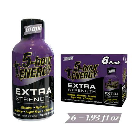 5-Hour Energy Extra Strength Energy Shot, Grape, 1.93 Fl Oz, 6 Ct ()